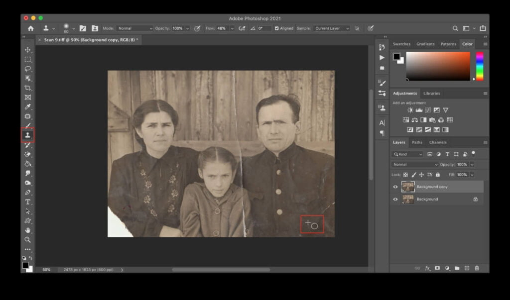 Using The Clone Stamp Tool In Photoshop To Restore Old Photographs