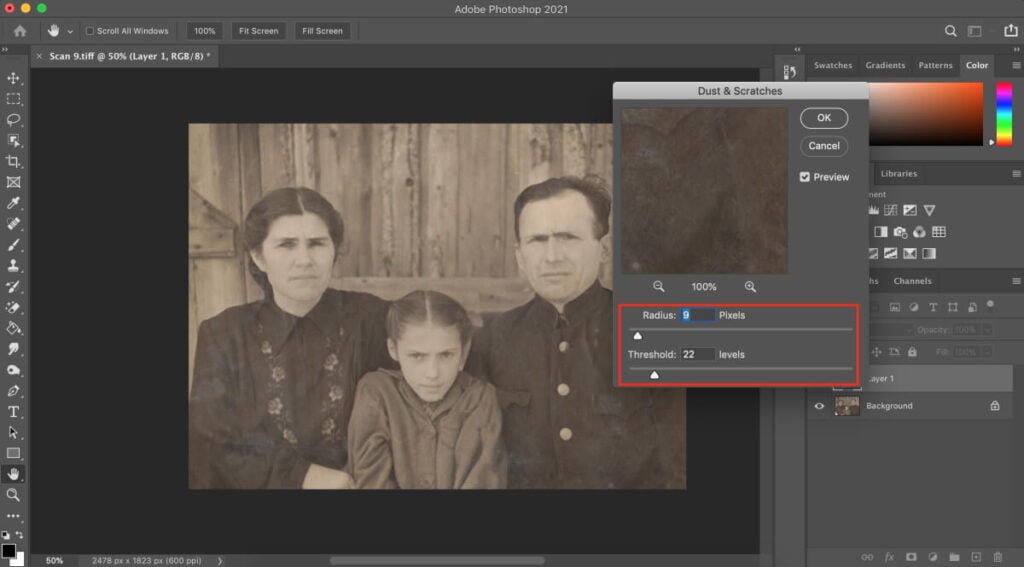 Removing Scratches & Noise From The Photograph Using Photograph
