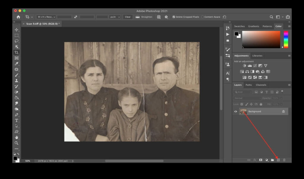Photoshop interface duplicating a layer