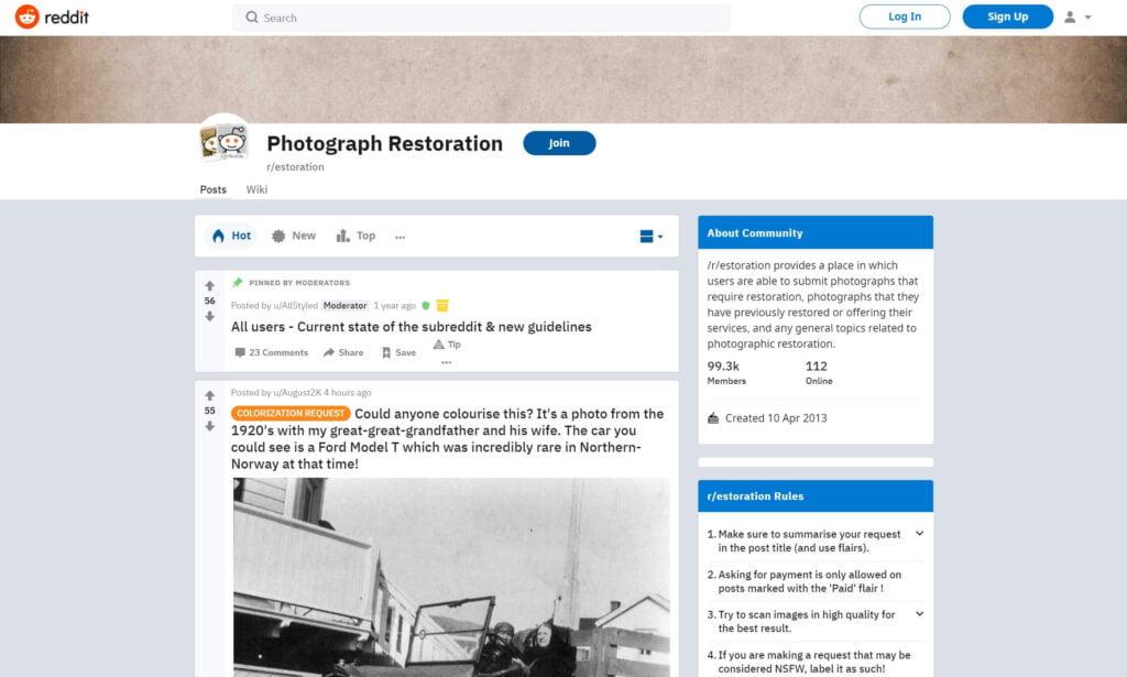Reddit Photo Restoration Subreddit
