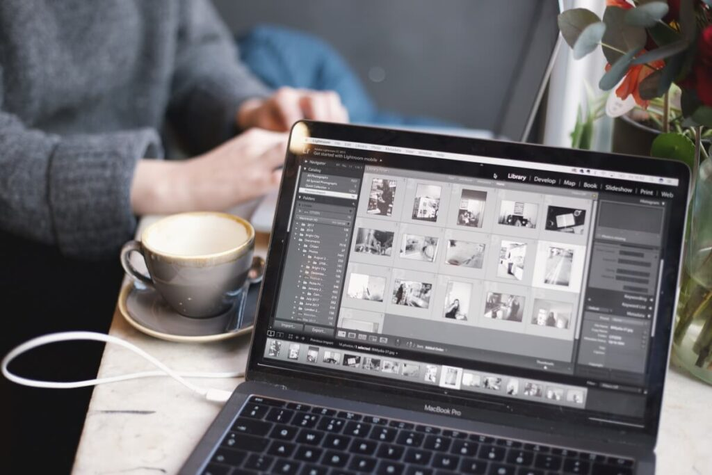 a photo expert working on photoshop lightroom retouching photos