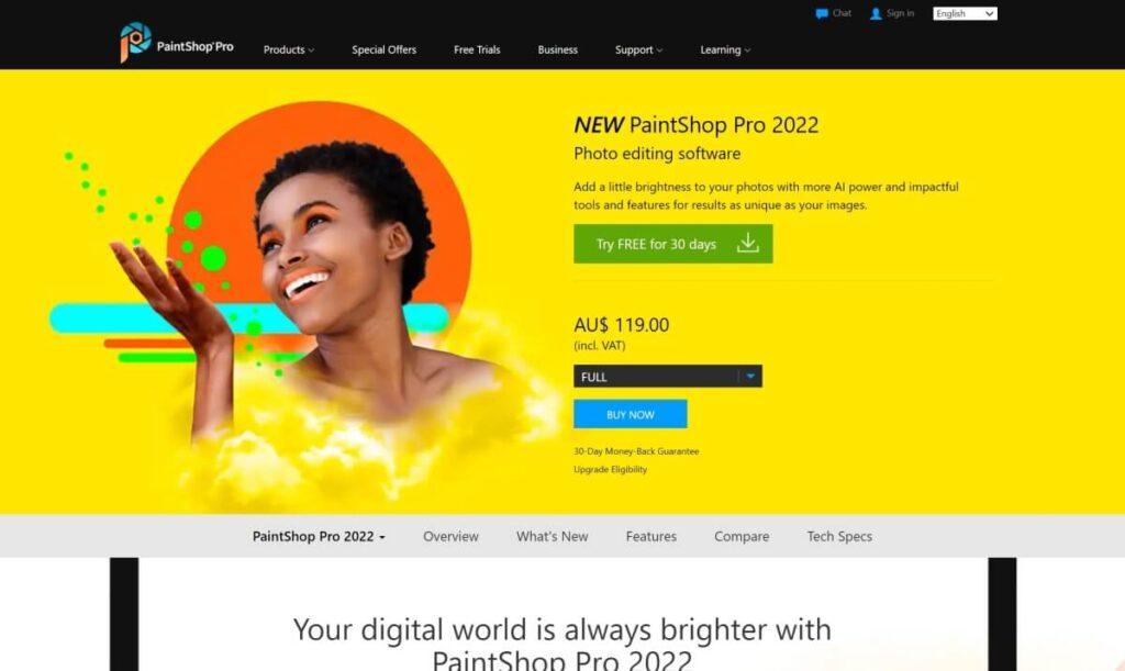 coral paintshop photo software
