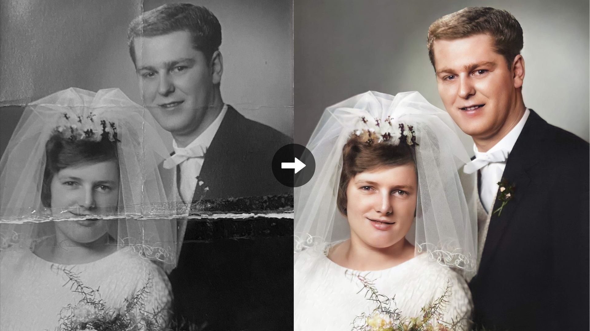 Before After Photo Restoration Of A Bride & Groom